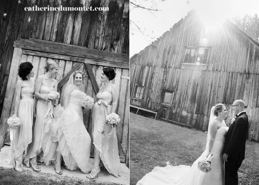 la mariée avec ses demoiselles d'honneur et son mari