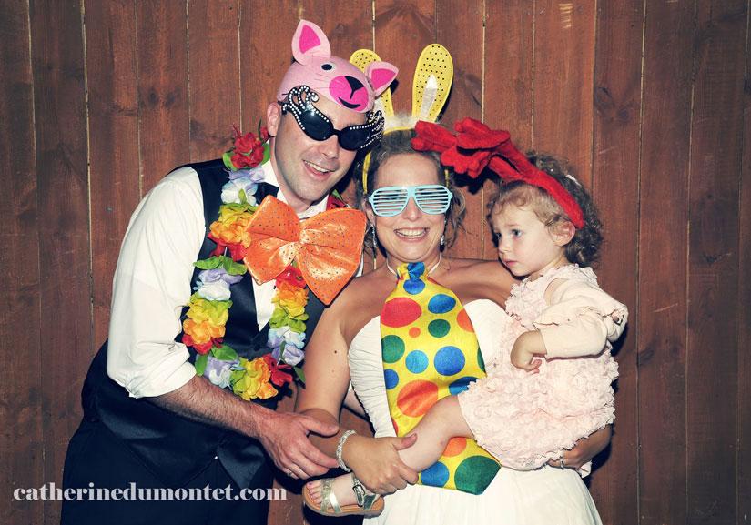 photobooth avec les mariés et leur fille