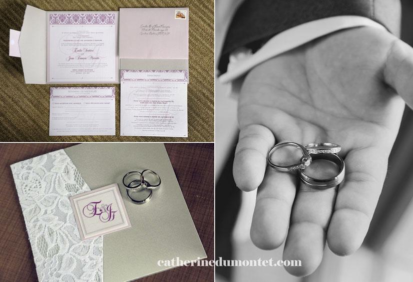 carton d'invitation et bagues mariage