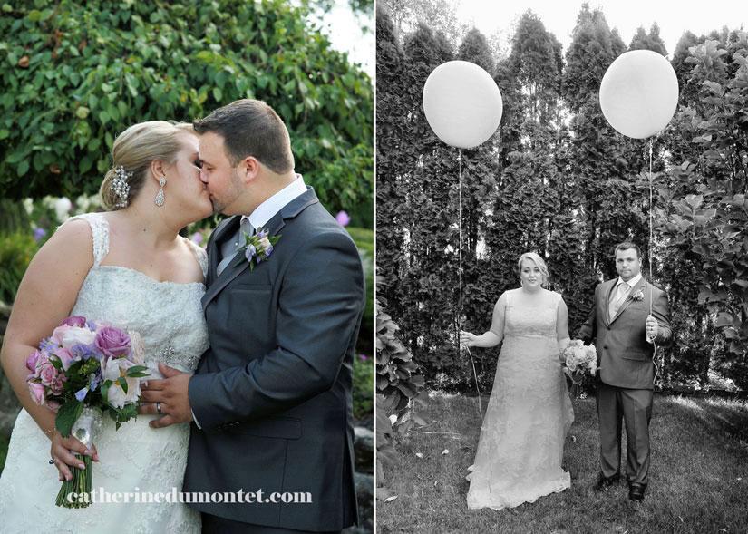 les mariés dans les jardins du château