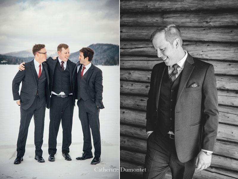 Le marié et ses garçons d'honneur au Lac-Supérieur