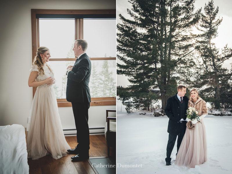 mariés en hiver au Lac Supérieur dans les Laurentides