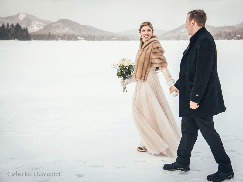 mariés en hiver au Elysium Lac-Supérieur Tremblant