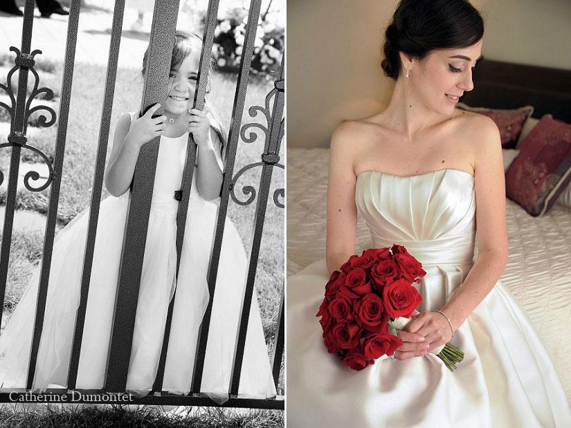 portrait de la mariée et de sa bouquetière