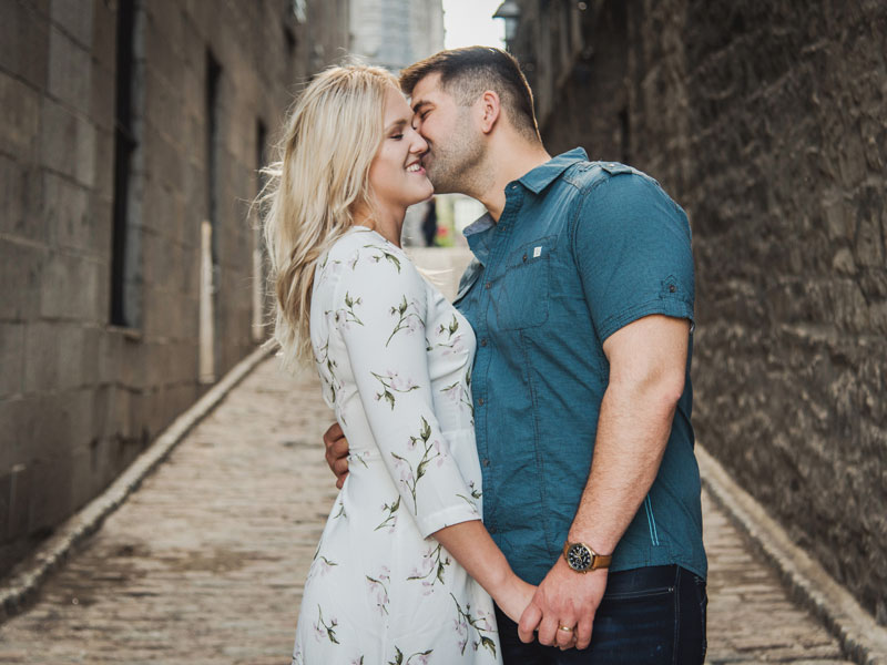 Two lovers in old port Montreal