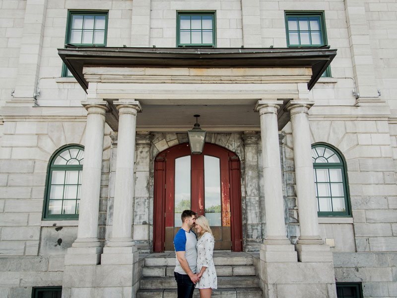 Two fiancés in old port Montreal
