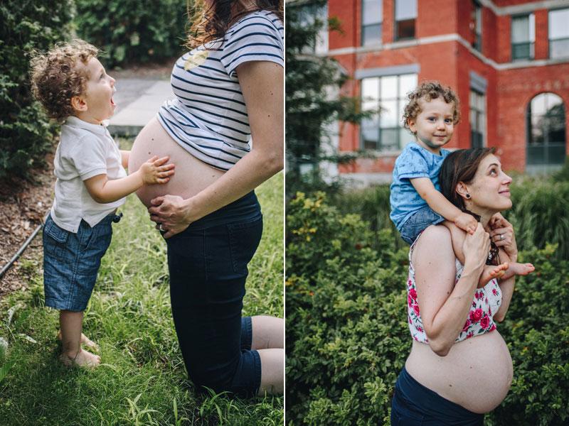grand frère avec maman enceinte