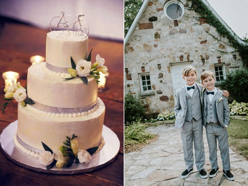 petits pages et gâteau de mariage