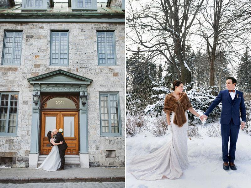 Couples de mariés en hiver et été