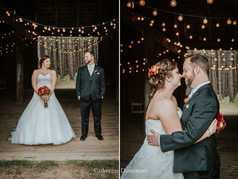 Newlyweds in Grand Lodge Mont-Tremblant barn