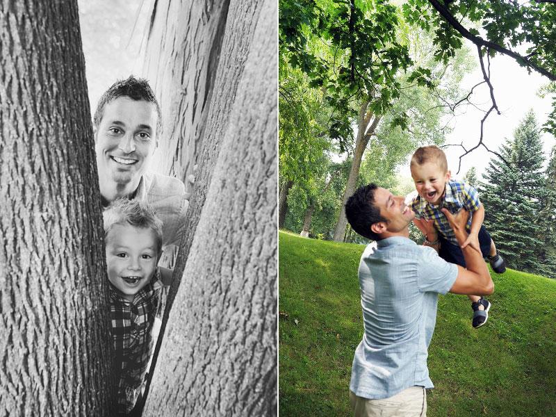 un garçon et son papa jouent au parc