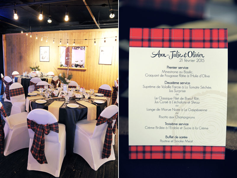 wedding decor and menu at the grand lodge tremblant