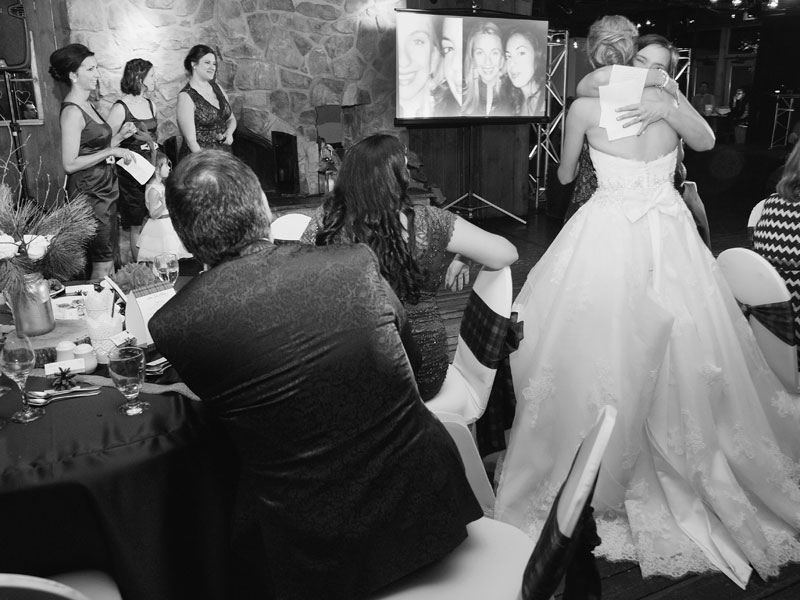black and white photo of the bridesmaids speech