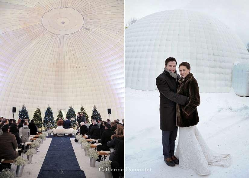 mariage d'hiver dans un igloo gonflable