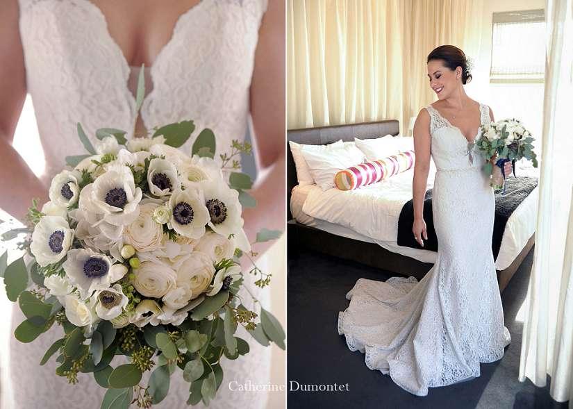La mariée dans sa chambre d'hôtel