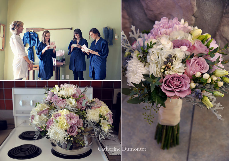 wedding flowers and bridesmaids receiving a gift