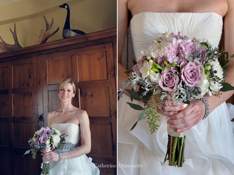 portrait of the bride and flowers close-up