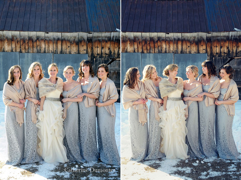 the bridesmaids with the bride in winter time