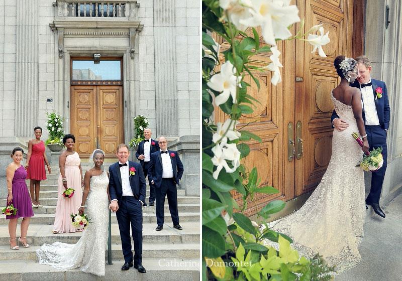Les mariés avec cortège sur la rue Sherbrooke