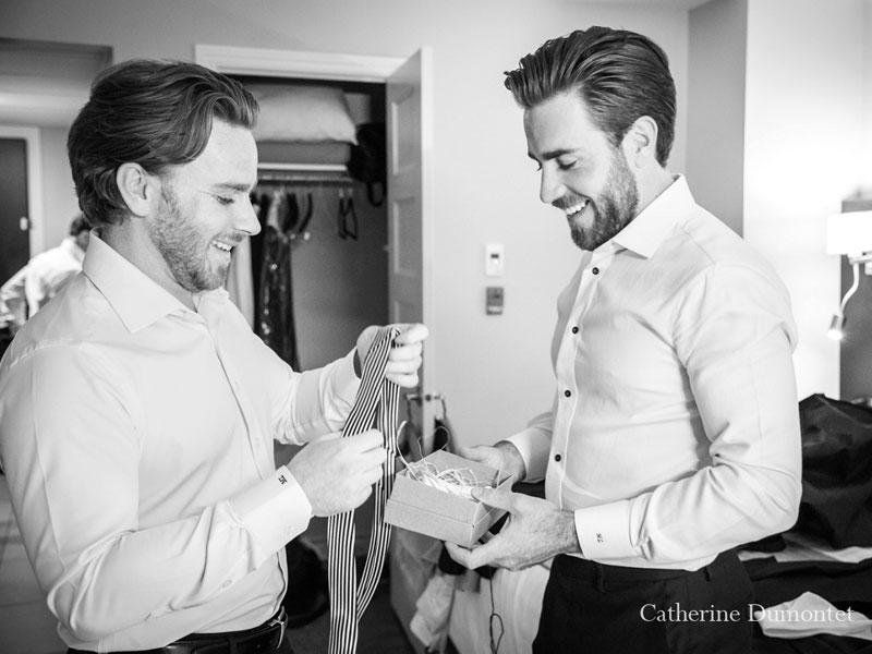 préparation du marié à l'Auberge des Gallant