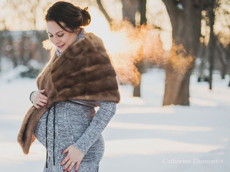 Photos de maternité en hiver