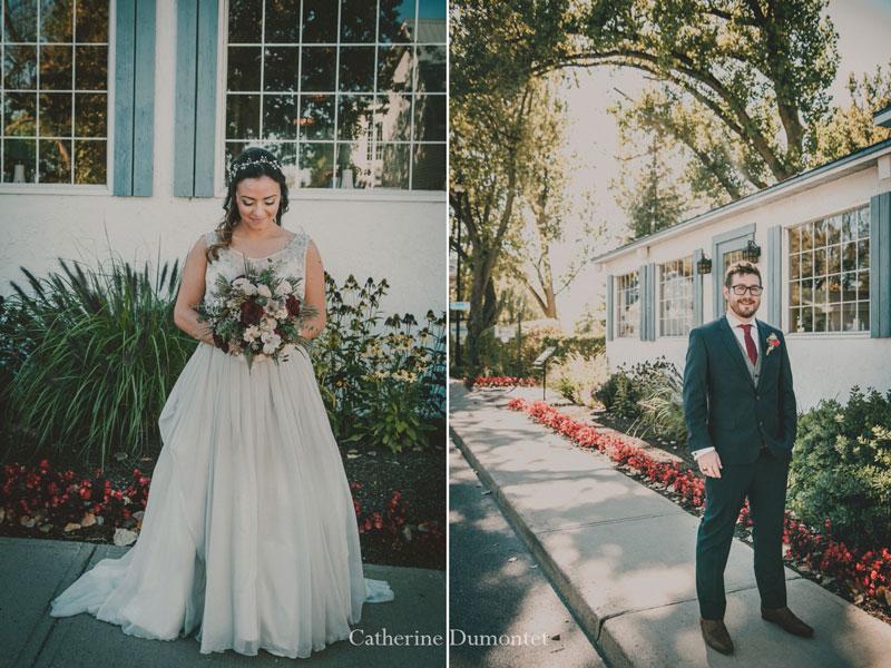 Portraits des mariés devant l'Auberge Handfield