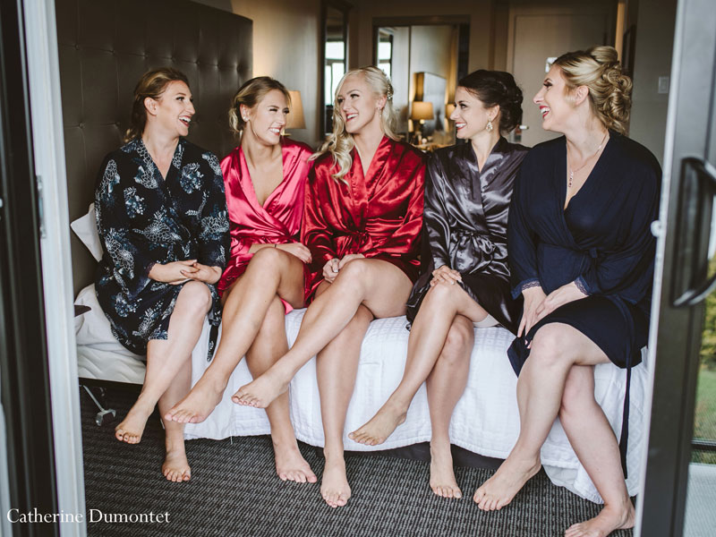 bride and bridesmaids at Hotel Mont Gabriel