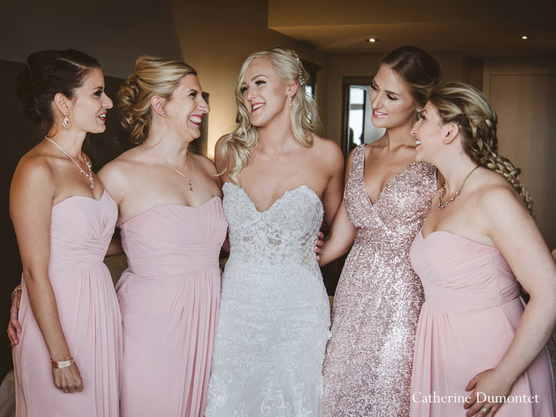 the bride and bridesmaids at Hotel Mont-Gabriel