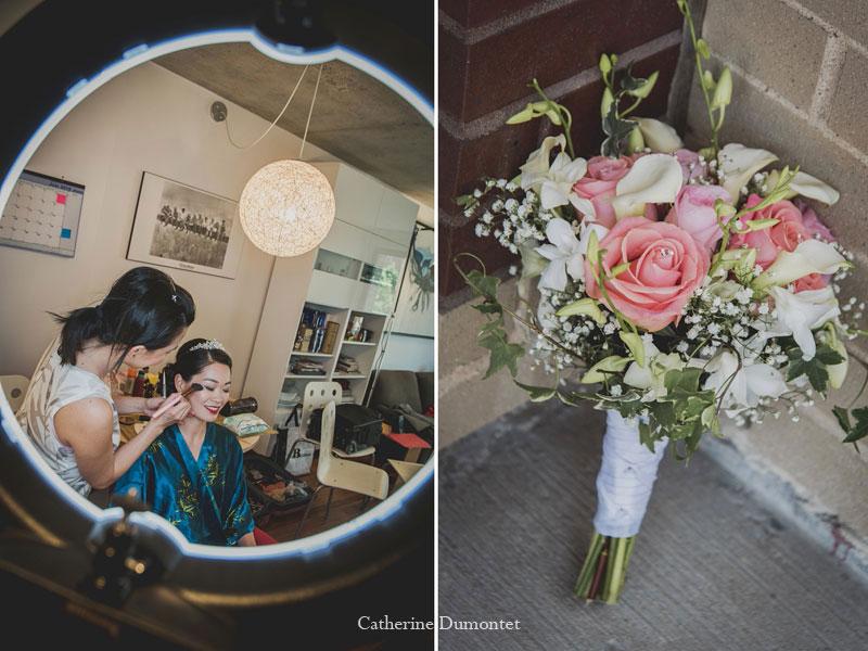 préparation de la mariée et bouquet