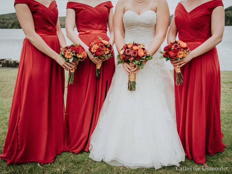 the girls with their wedding flowers