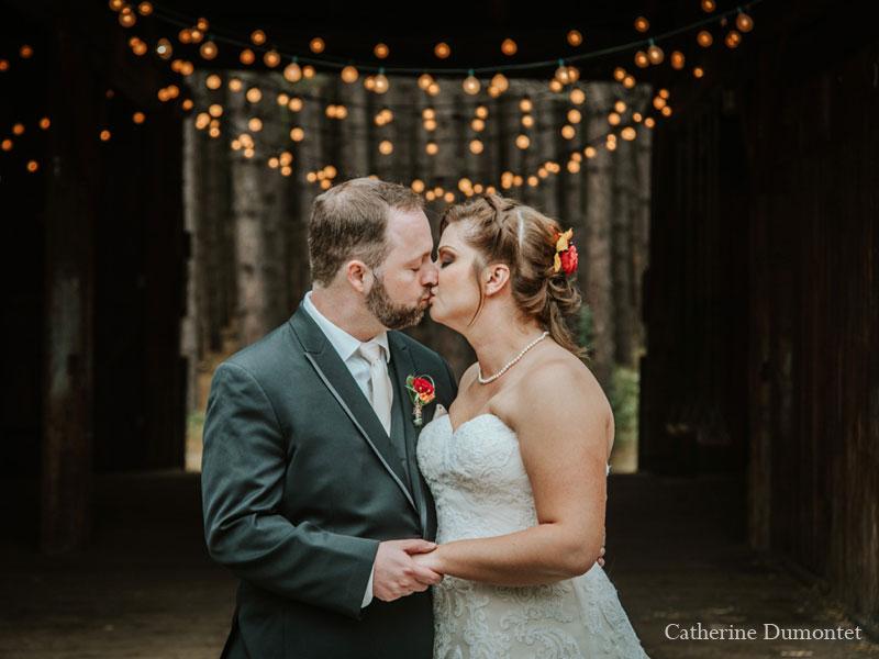 Newlyweds kissing at Grand Lodge Mont-Tremblant