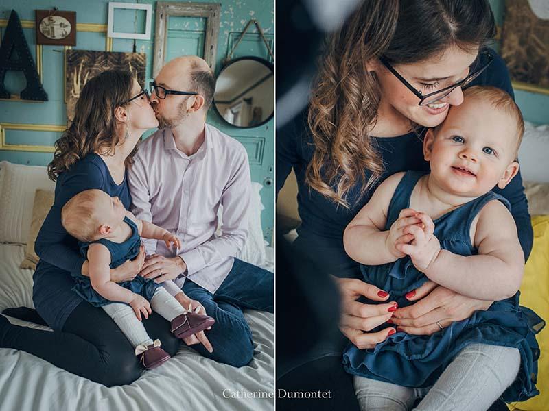 Portraits de bébé Charlotte avec ses parents