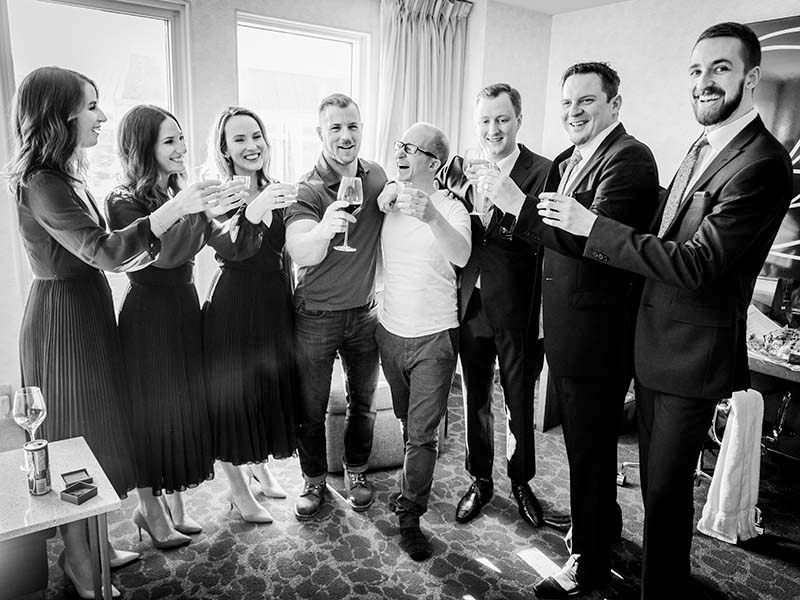 bridal party celebrating at Marriott