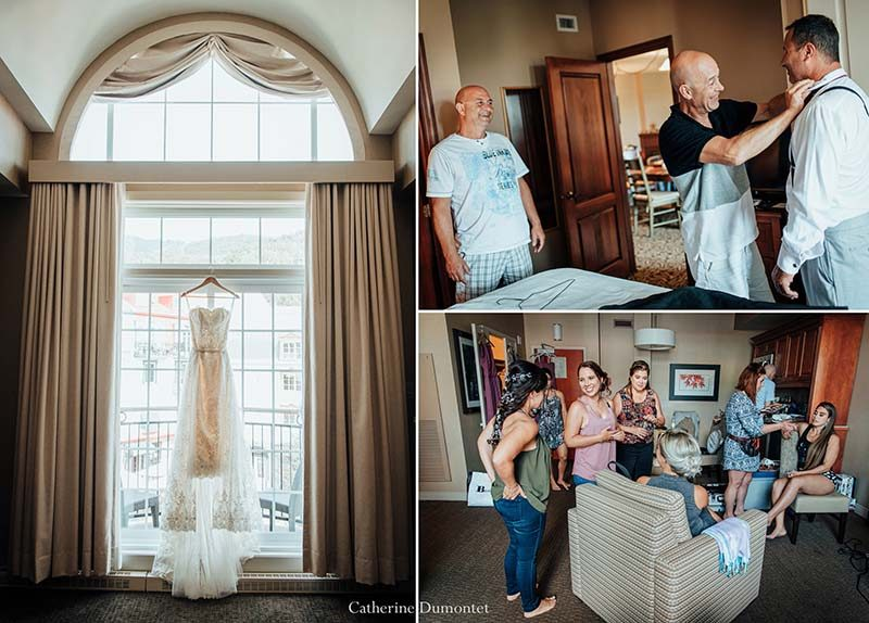 bride and groom getting ready in Mont-Tremblant