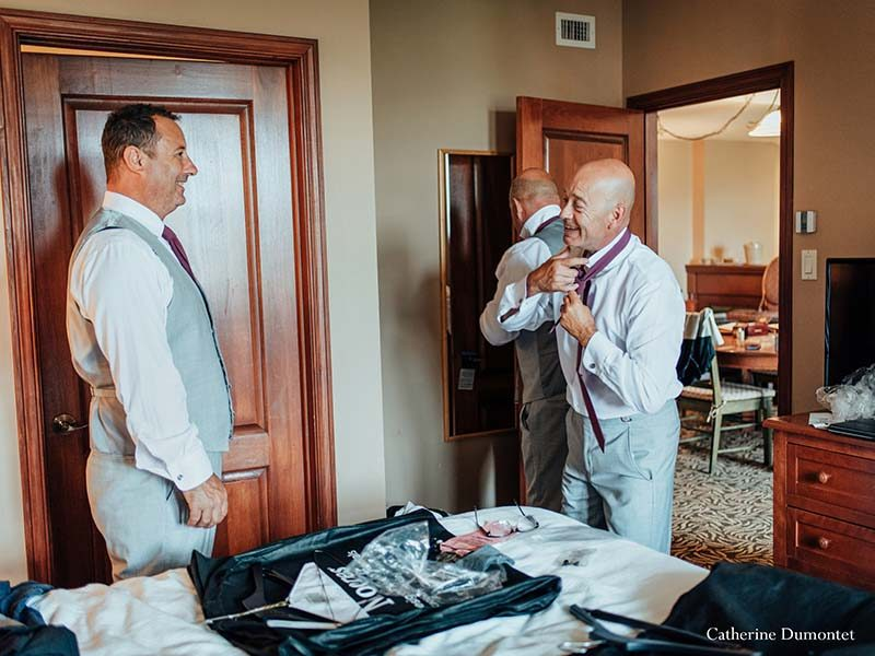 Groom getting ready in Mont-Tremblant