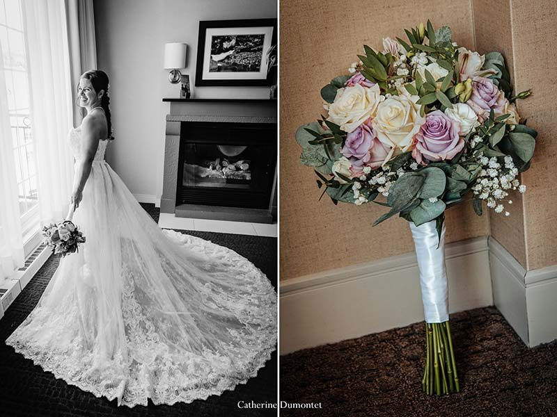 wedding flowers and bride at Sommet des Neiges Tremblant