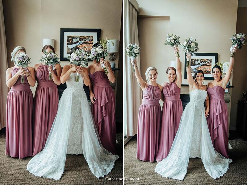 bride with bridesmaids at Sommet des Neiges Tremblant