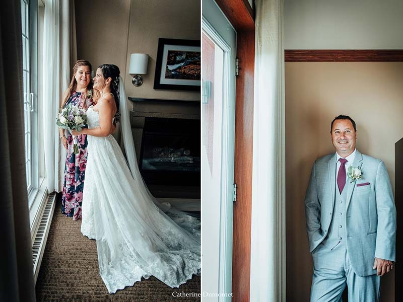 Portraits of bride and groom in Tremblant