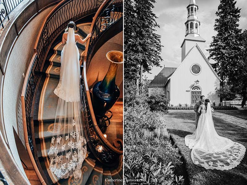 bride in Tremblant Quintessence stairway