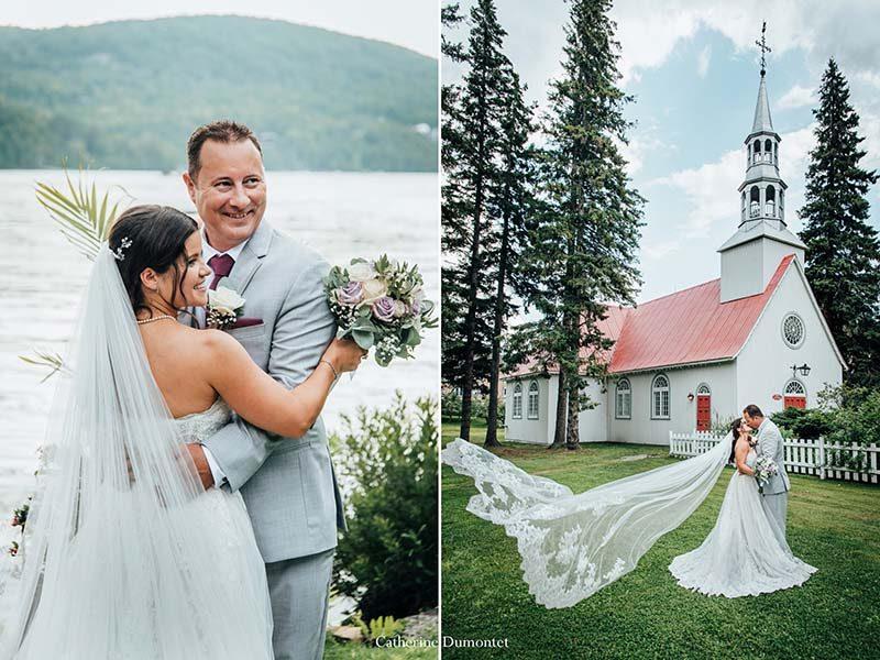 Bride and groom at Saint-Bernard Chapel