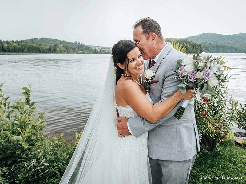 Bride and groom at Hotel Quintessence in Tremblant