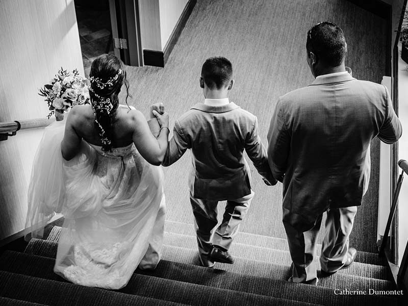 newlyweds with ring bearer