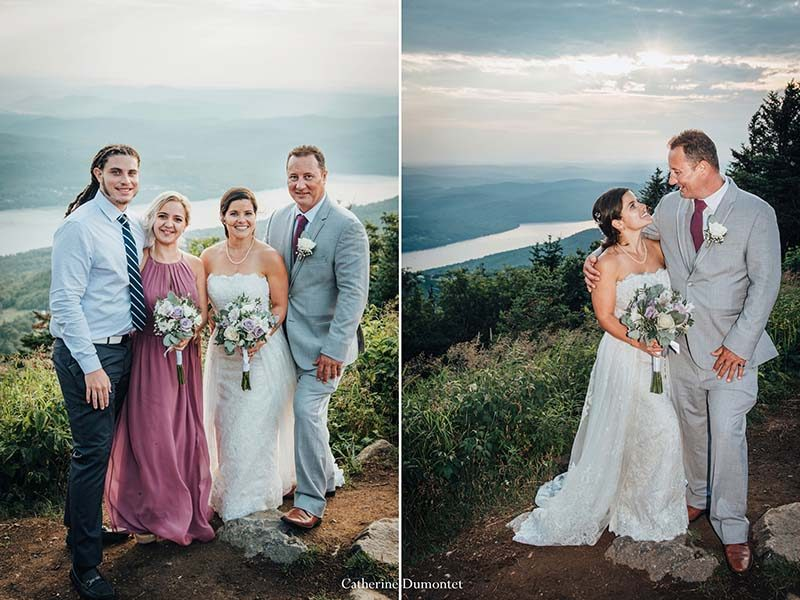 newlyweds with guests at Mont Tremblant summit
