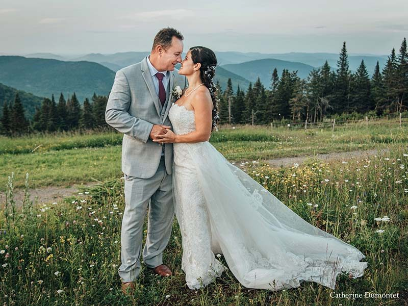 bride and groom at Mont Tremblant summit