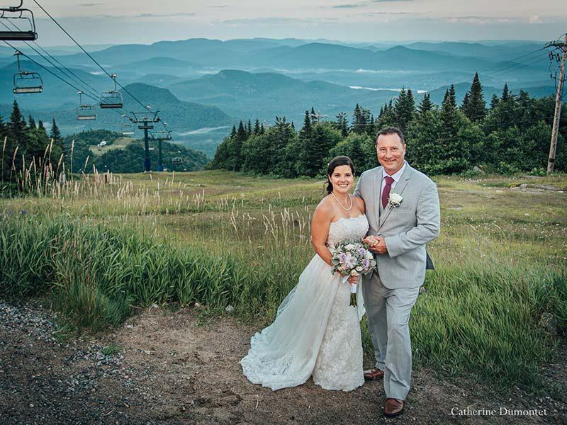 newlyweds at Mont Tremblant summit