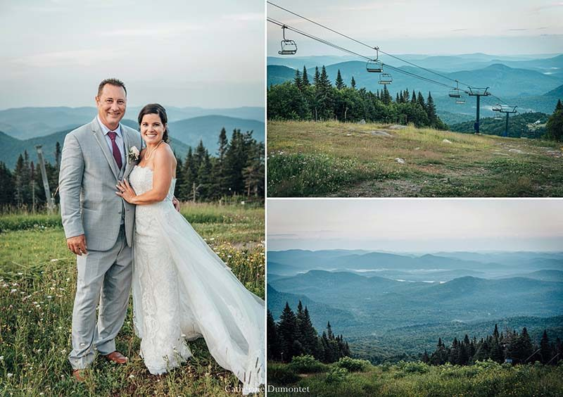 newlyweds at Mont Tremblant summit