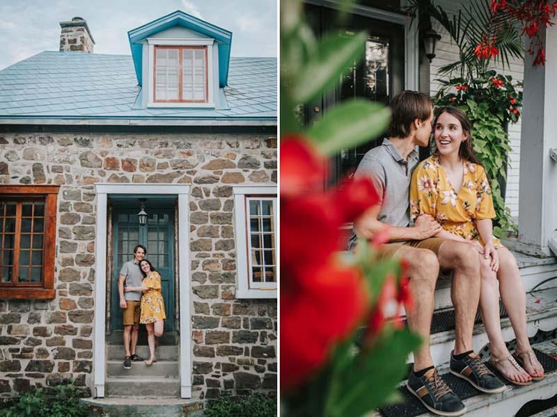 Couple de fiancés dans le Vieux La Prairie
