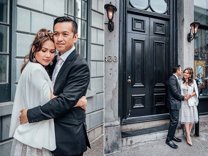 couple in love in Old Montreal