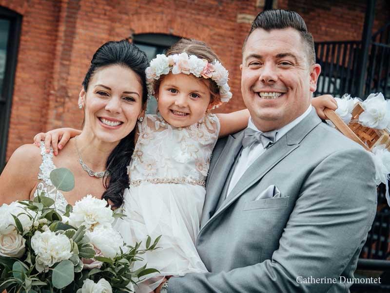 Les mariés et leur fille à l'Ambroisie et l'Espace Canal
