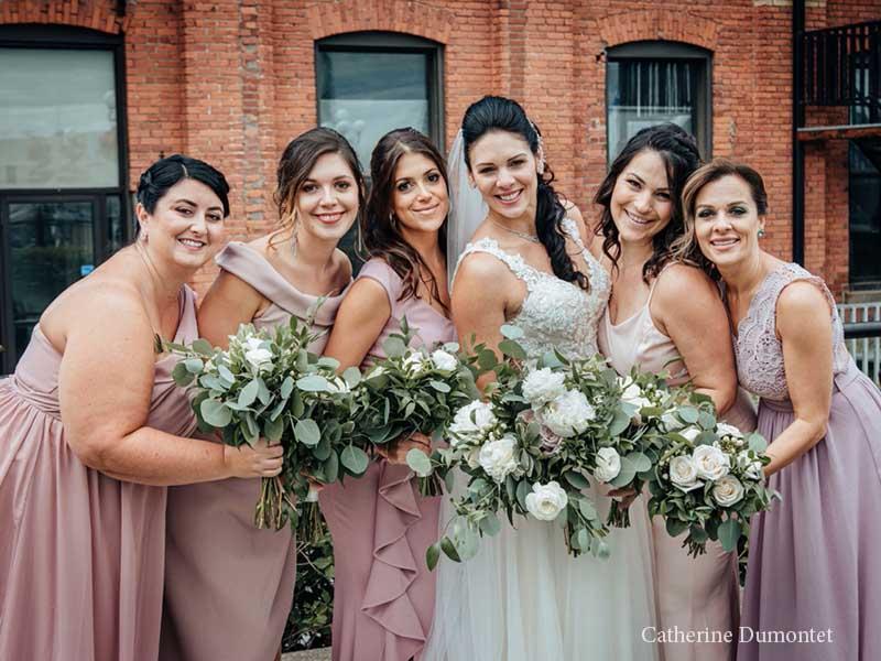 La mariée et les filles d'honneur à l'Ambroisie et l'Espace Canal